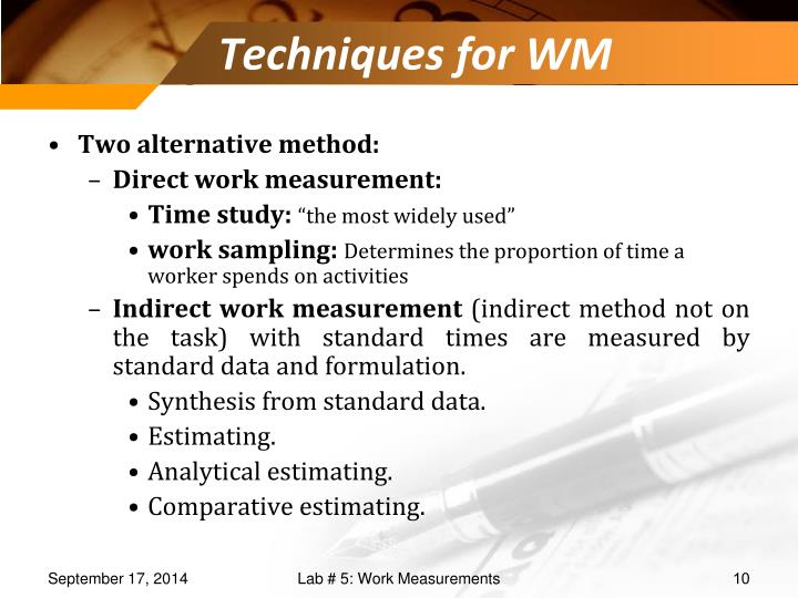 Techniques for WM