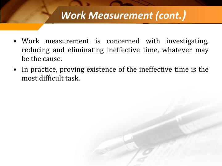 Work Measurement (cont