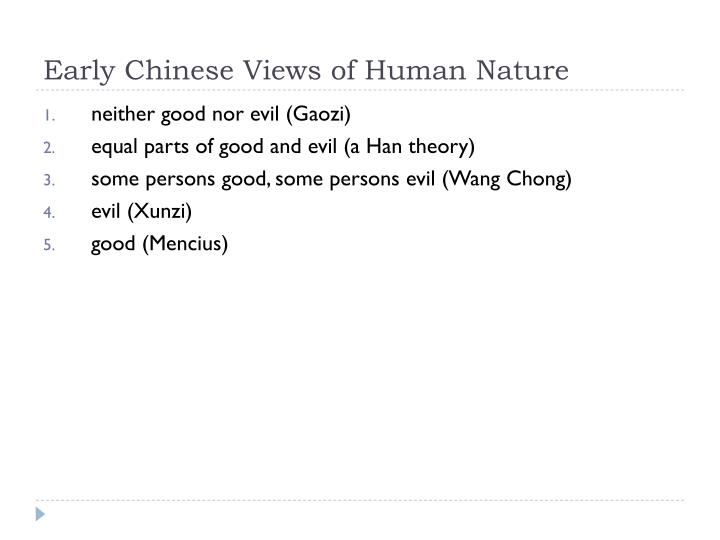 Early chinese views of human nature