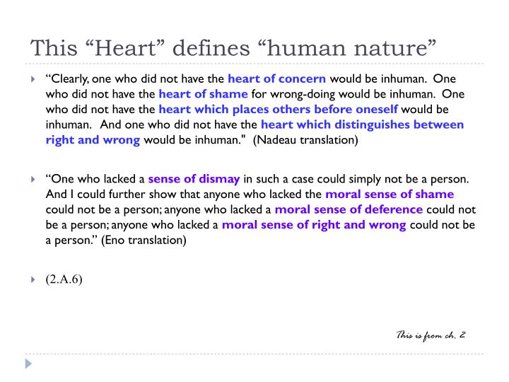 "This ""Heart"" defines ""human nature"""