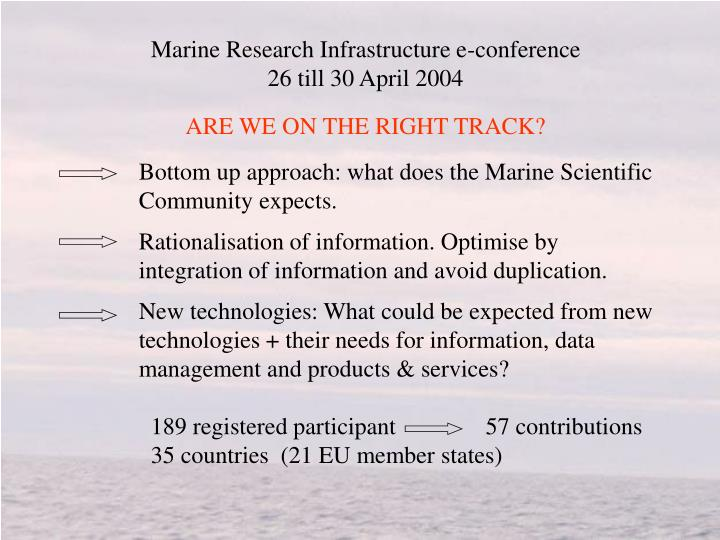 Marine Research Infrastructure e-conference