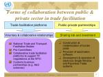 forms of collaboration between public private sector in trade facilitation