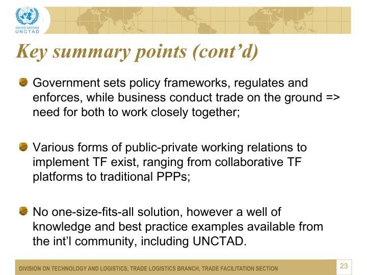 Key summary points (cont'd)