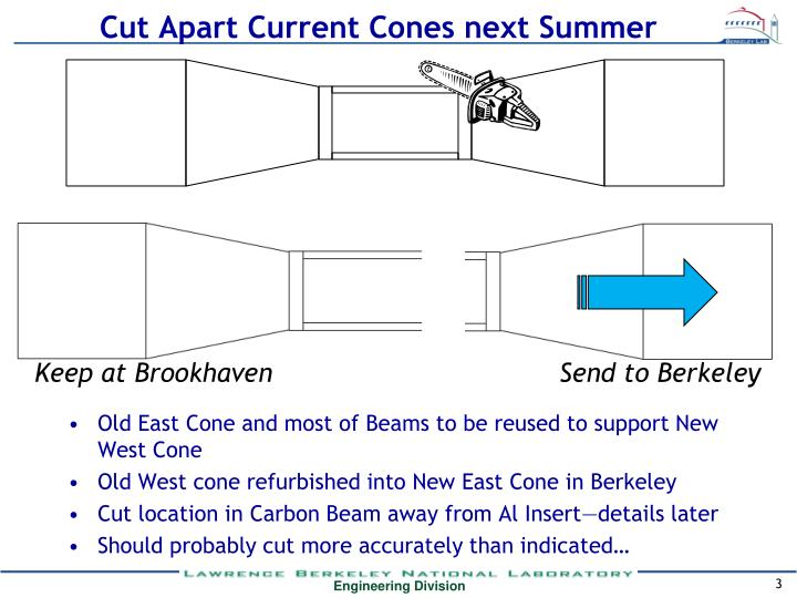 Cut apart current cones next summer