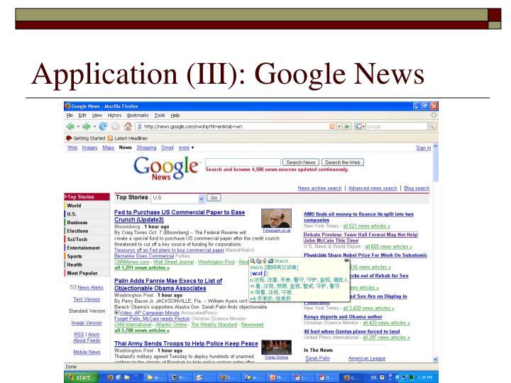 Application (III): Google News