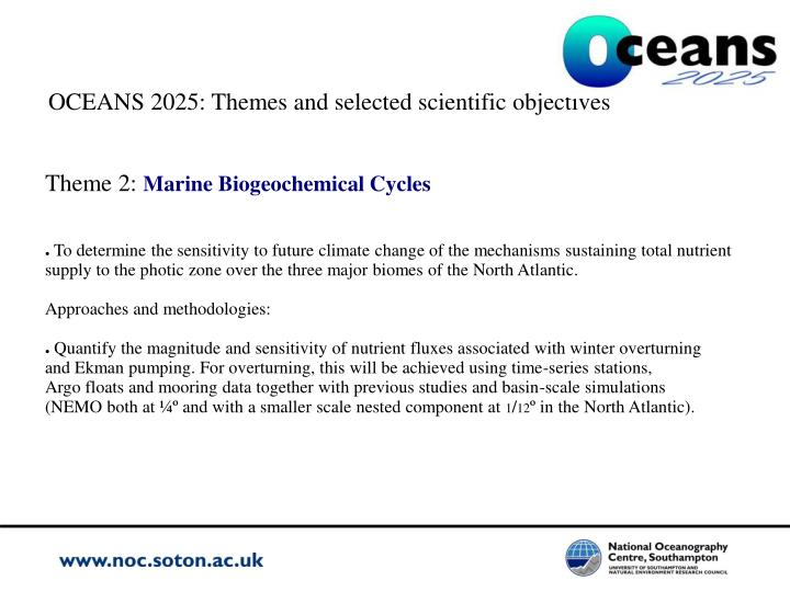 OCEANS 2025: Themes and selected scientific objectives