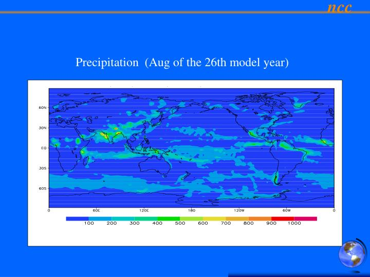 Precipitation  (Aug of the 26th model year)