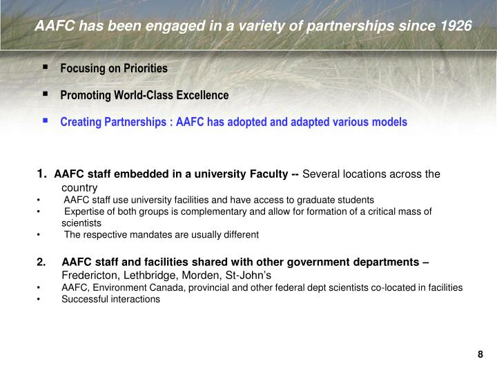 AAFC has been engaged in a variety of partnerships since 1926