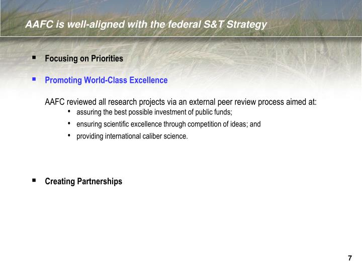 AAFC is well-aligned with the federal S&T Strategy