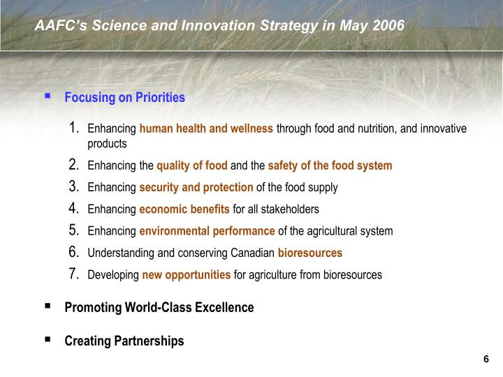 AAFC's Science and Innovation Strategy in May 2006