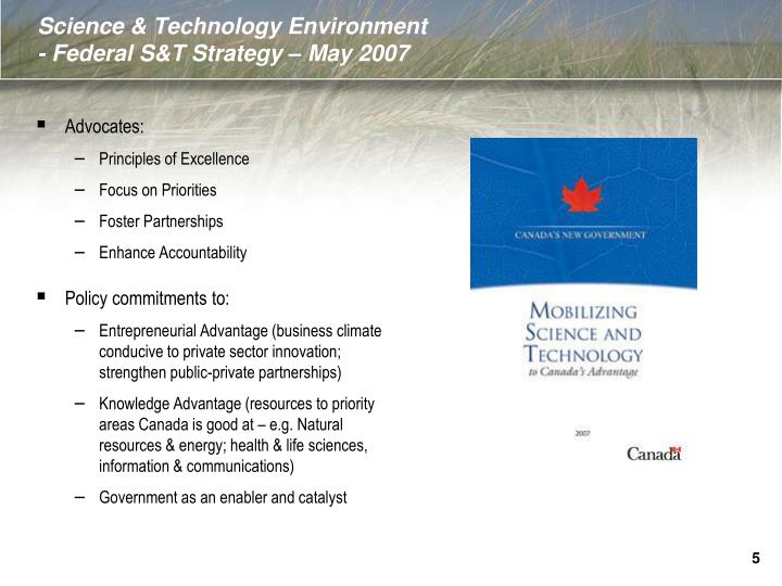 Science & Technology Environment