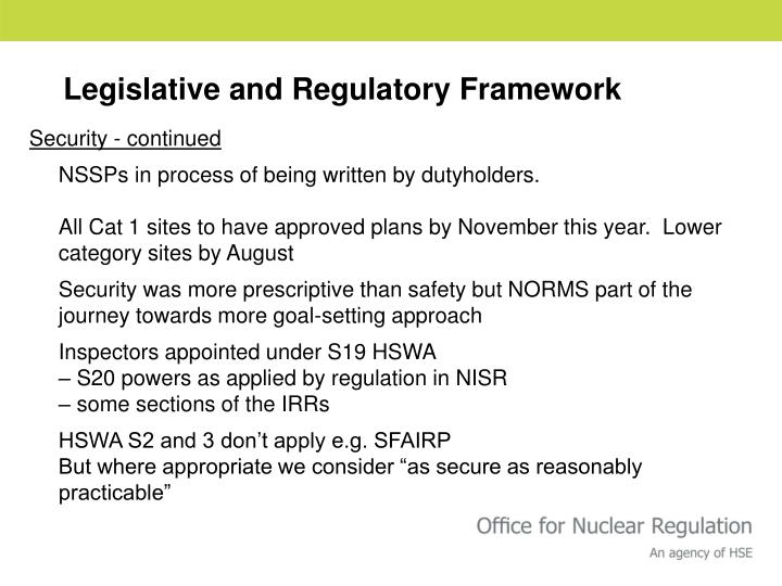 Legislative and Regulatory Framework