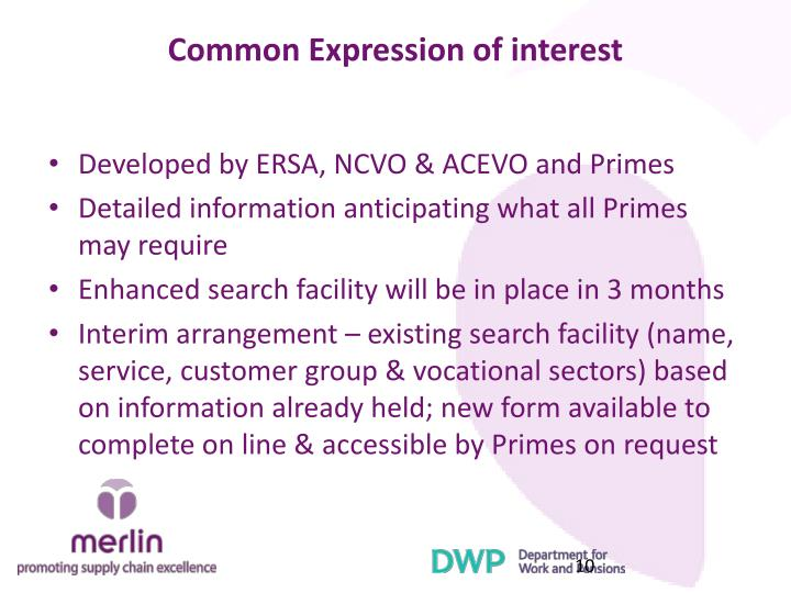 Common Expression of interest
