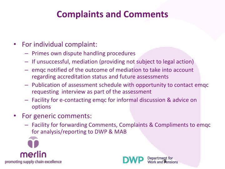 Complaints and Comments