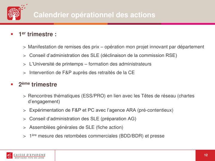 Calendrier opérationnel des actions