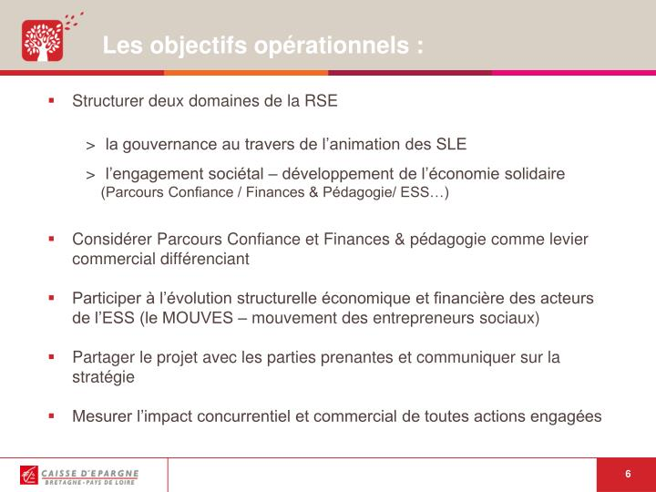 Les objectifs opérationnels :