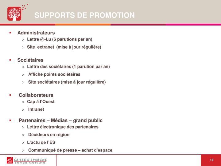 SUPPORTS DE PROMOTION