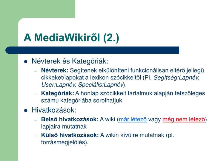 A MediaWikiről (2.)