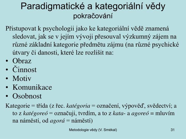 Paradigmatické a kategoriální vědy