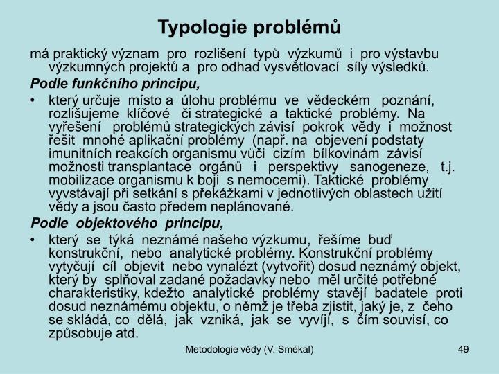 Typologie problémů