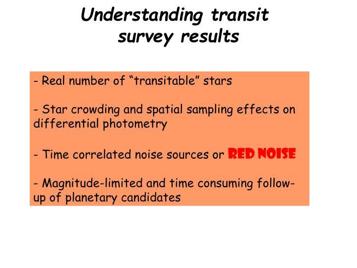 Understanding transit