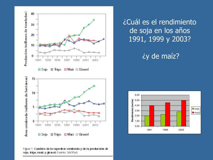 ¿Cuál es el rendimiento de soja en los años 1991, 1999 y 2003?