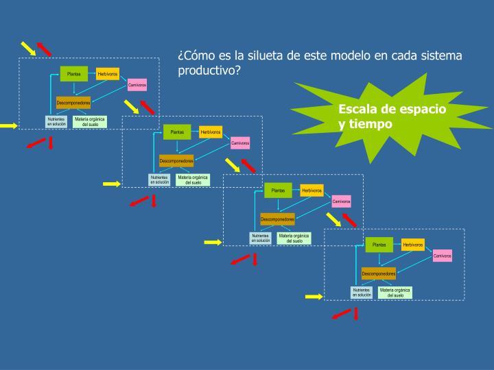 ¿Cómo es la silueta de este modelo en cada sistema productivo?