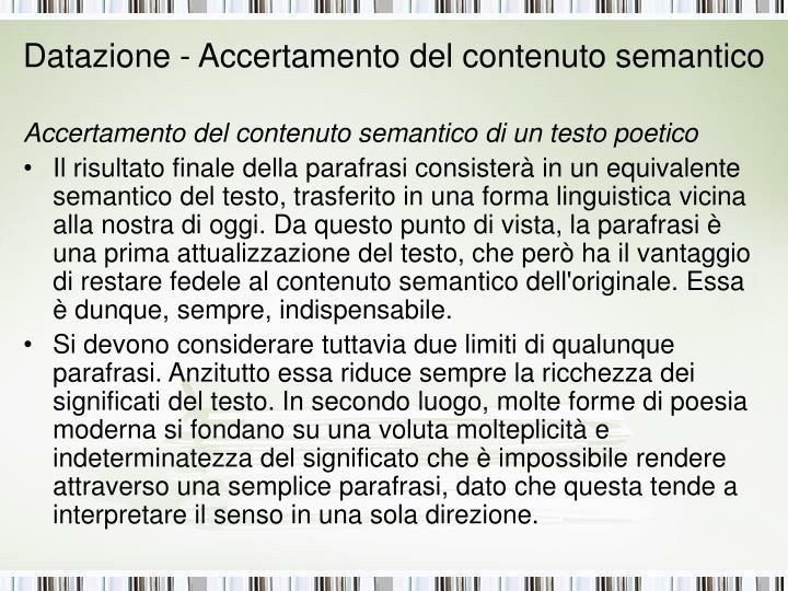 Datazione - Accertamento del contenuto semantico
