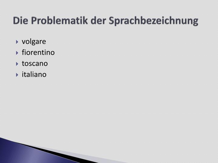 Die Problematik der Sprachbezeichnung
