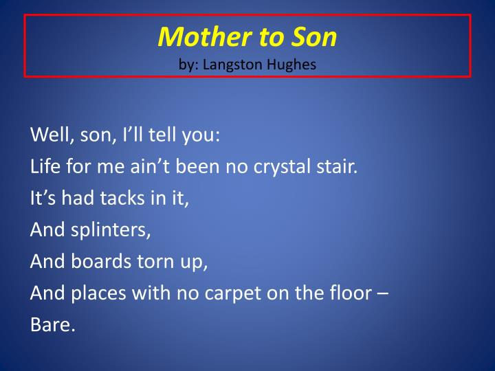essay on langston hughes mother to son