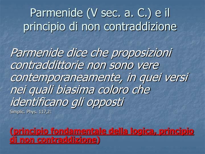 Parmenide (V sec. a. C.) e il principio di non contraddizione