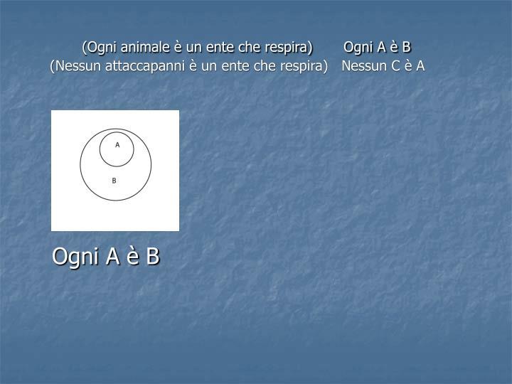 (Ogni animale è un ente che respira)       Ogni A è B