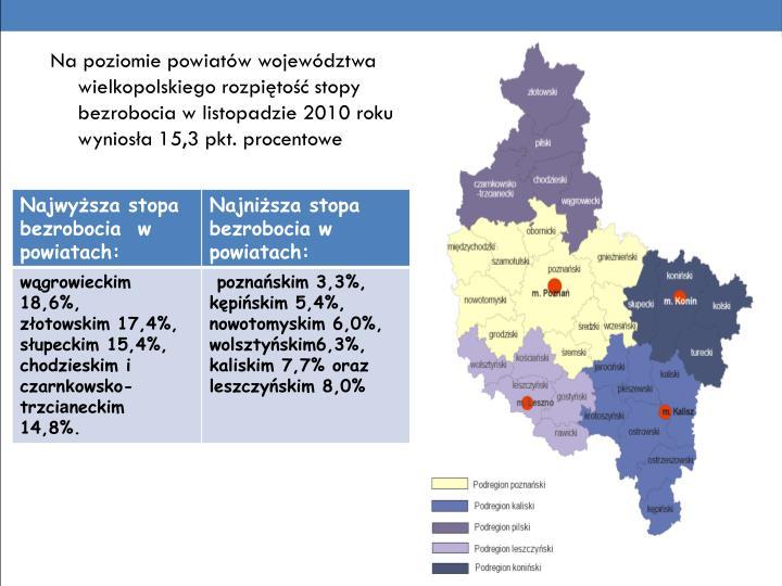 Na poziomie powiatów województwa wielkopolskiego rozpiętość stopy bezrobocia w listopadzie 2010 roku wyniosła 15,3 pkt. procentowe