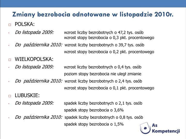 Zmiany bezrobocia odnotowane w listopadzie 2010r.