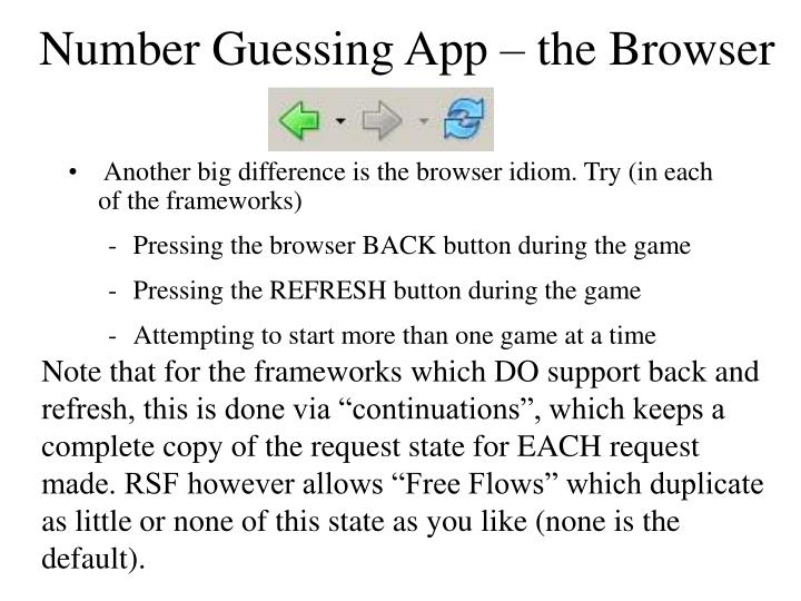 Number Guessing App – the Browser