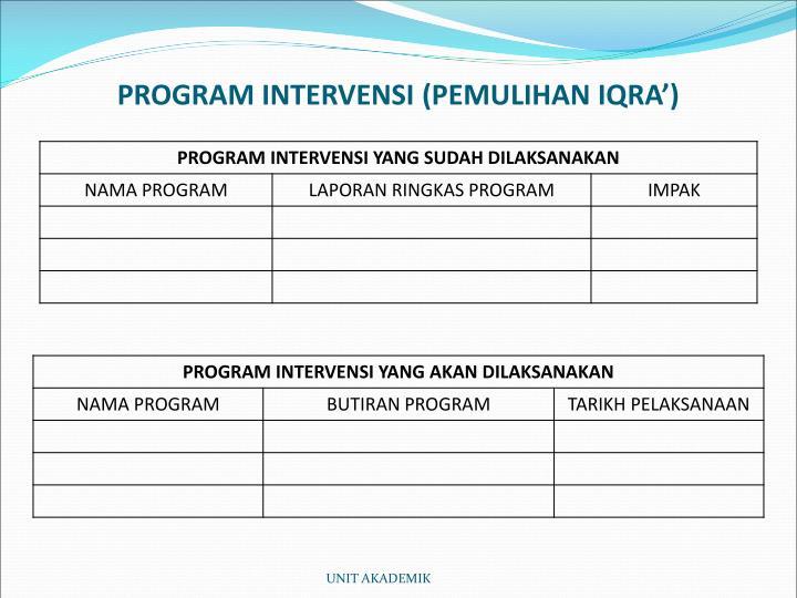 PROGRAM INTERVENSI (PEMULIHAN IQRA')