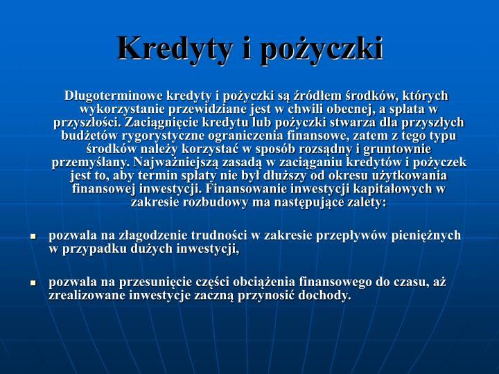 Kredyty i poyczki