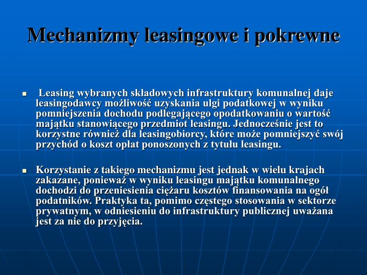 Mechanizmy leasingowe i pokrewne