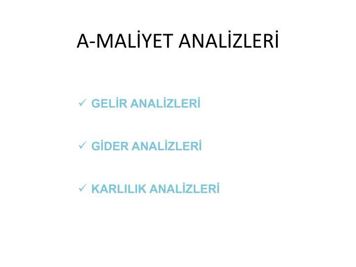 A-MALİYET ANALİZLERİ