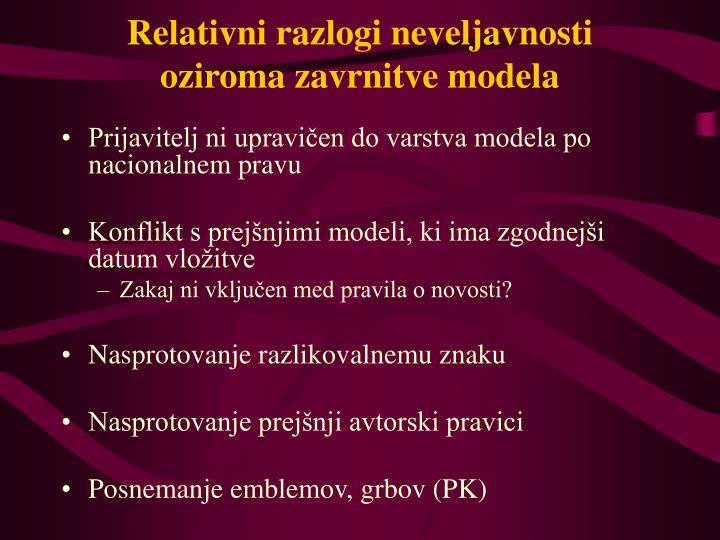Relativni razlogi neveljavnosti oziroma zavrnitve modela
