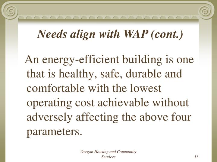 Needs align with WAP (cont.)