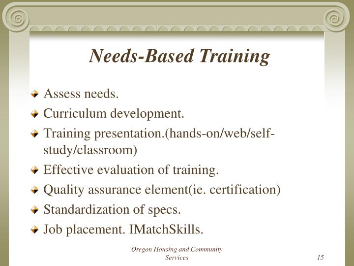 Needs-Based Training