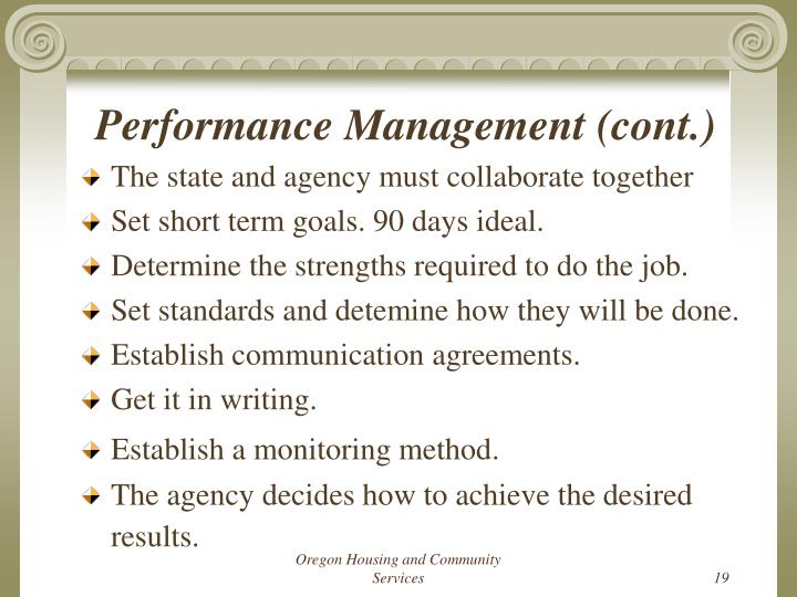 Performance Management (cont.)