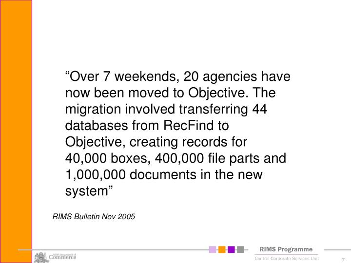 """Over 7 weekends, 20 agencies have now been moved to Objective. The migration involved transferring 44 databases from RecFind to Objective, creating records for 40,000 boxes, 400,000 file parts and 1,000,000 documents in the new system"""