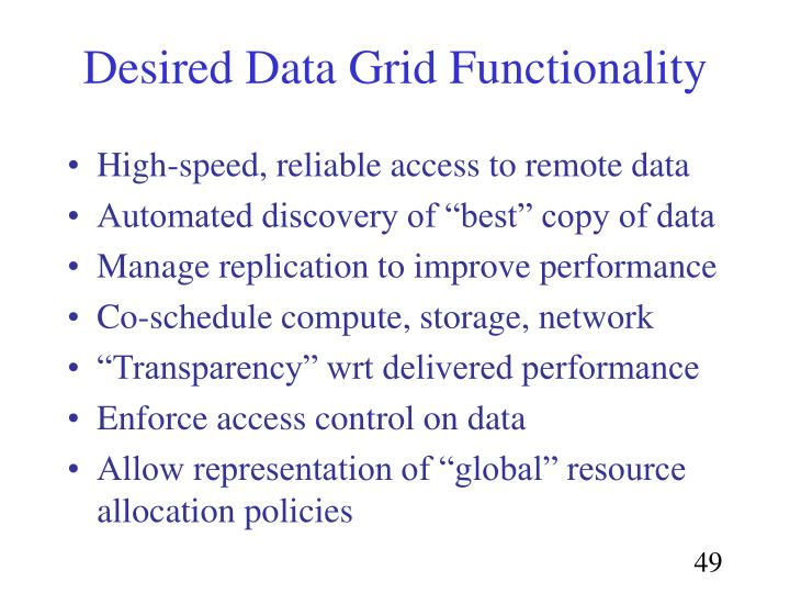 Desired Data Grid Functionality