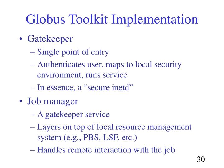 Globus Toolkit Implementation