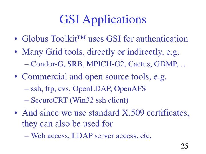 GSI Applications