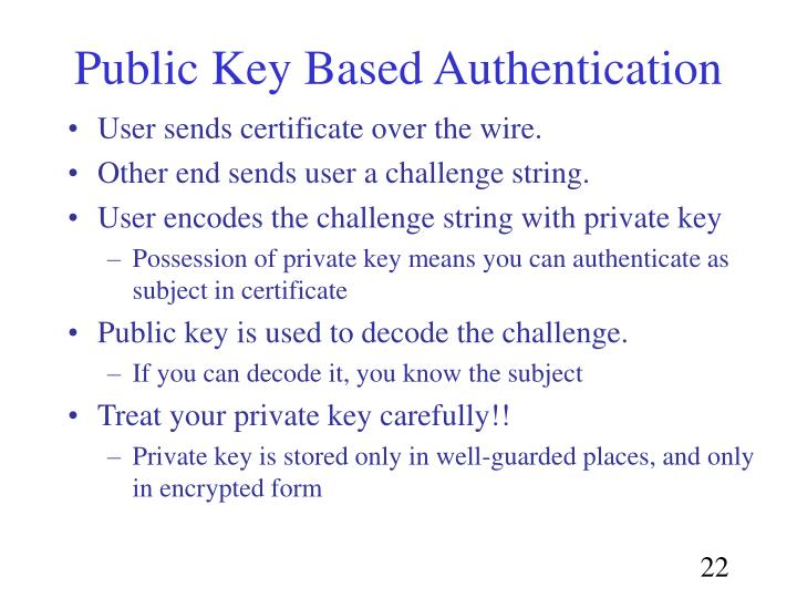 Public Key Based Authentication