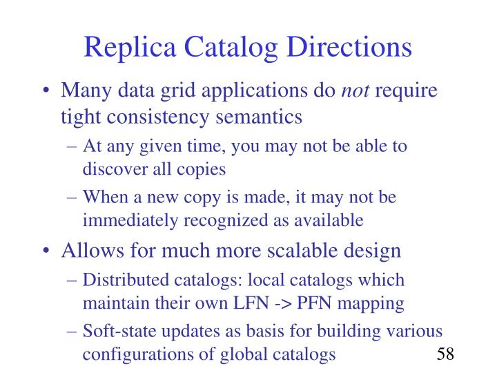 Replica Catalog Directions