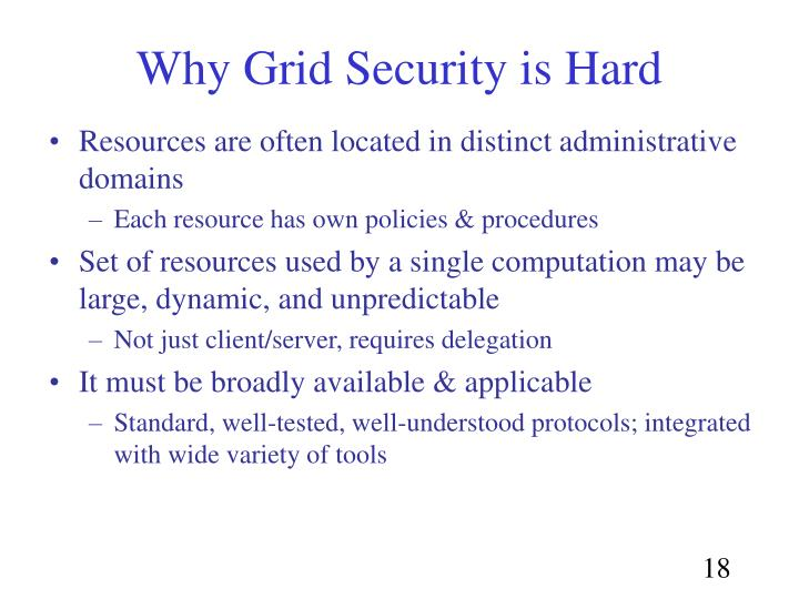 Why Grid Security is Hard